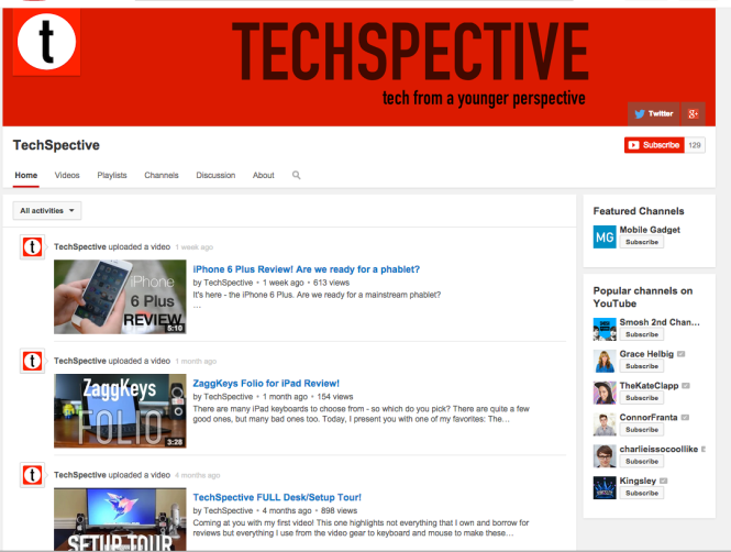 "Screenshot of a Youtube channel titled ""Techspective- Tech from a younger perspective"""
